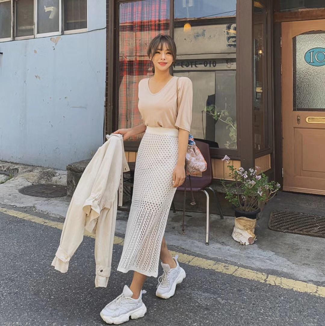 韓國 - 洞洞編織長裙