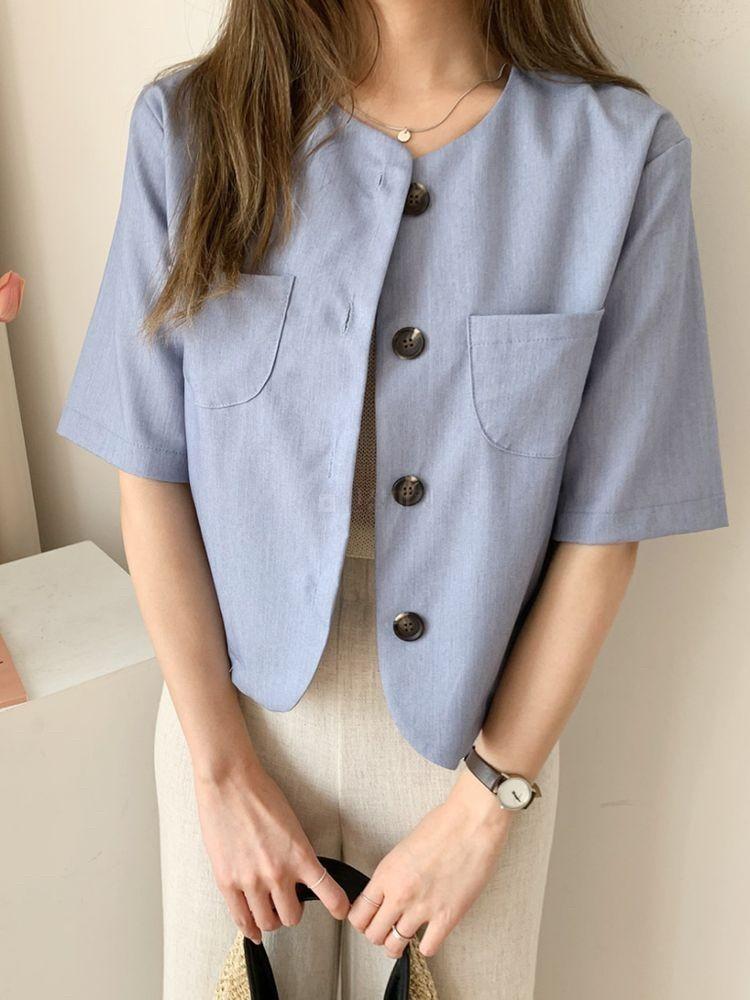 韓國 - 小口袋排扣罩衫