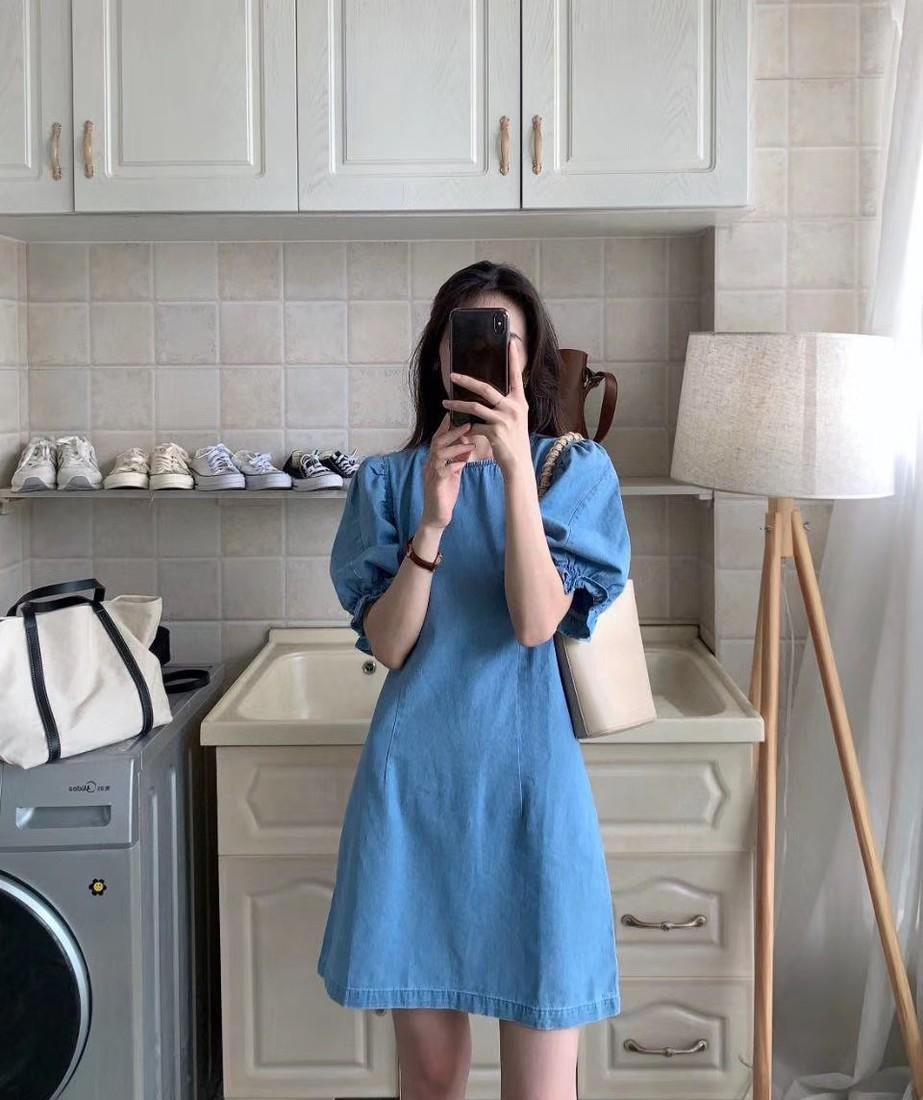 韓國 - 荷葉袖水洗牛仔連身裙