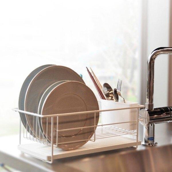 CB Japan|Flow 廚房系列 碗盤瀝水架《簡約白》(附珪藻土底座/收納架/工業風)