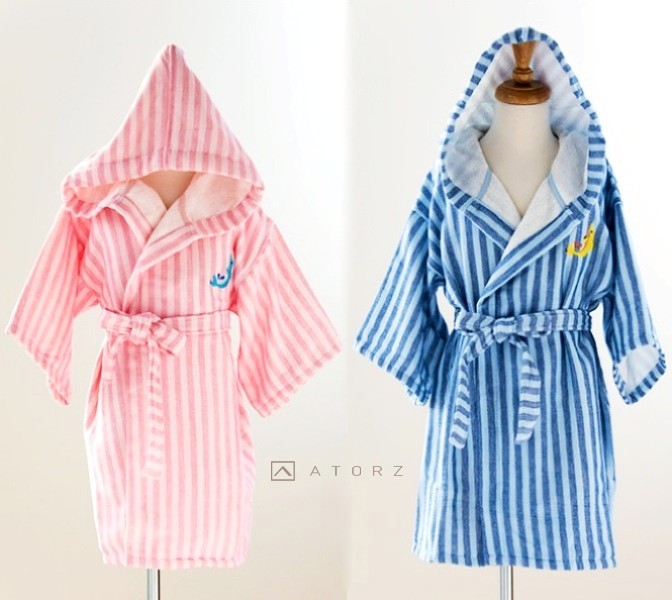 美國棉鯨魚繡花連帽兒童浴袍