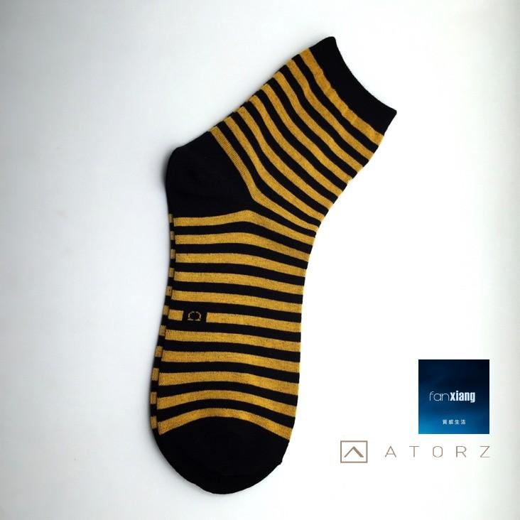 男精梳萊卡短襪‧橘金紋