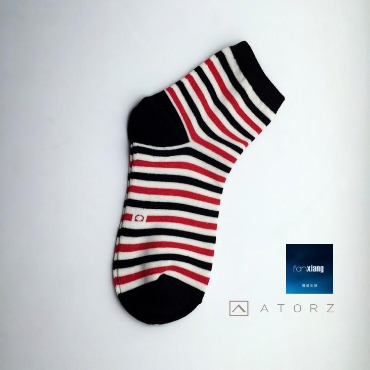 女精梳萊卡短襪‧紅黑條紋