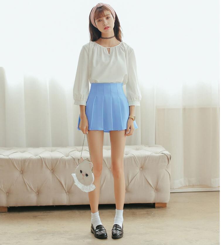 品名: 學院百褶裙網球裙半身短裙高腰修身顯瘦(天藍色) J-12824