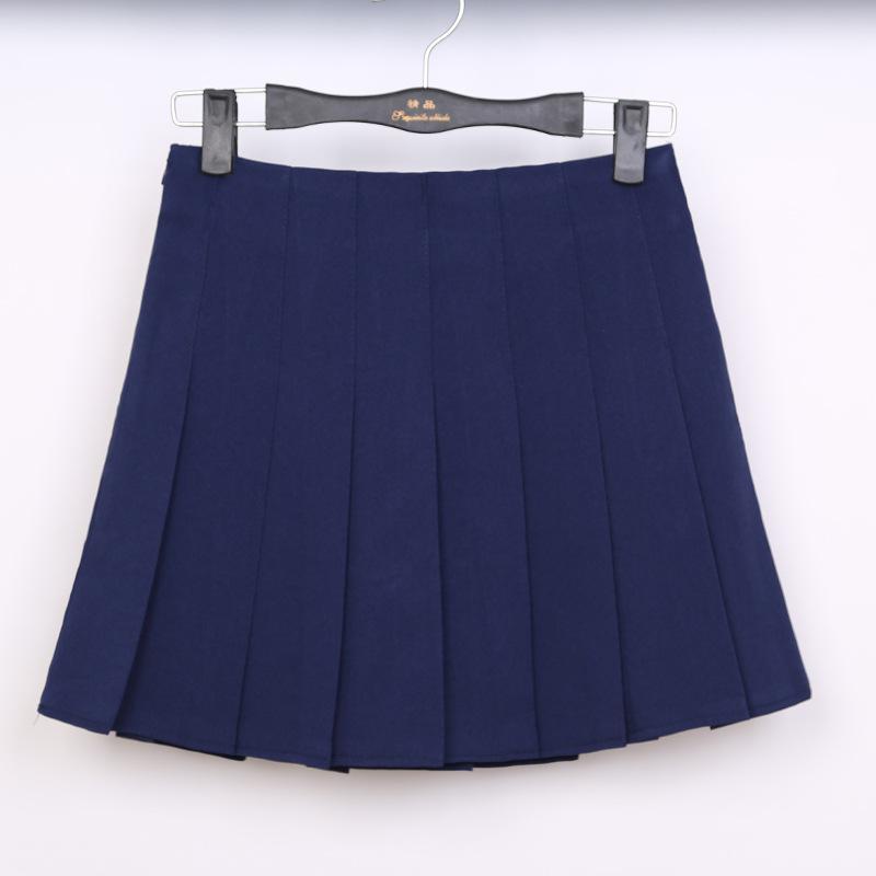 品名: 學院百褶裙網球裙半身短裙高腰修身顯瘦(藏青色) J-12826
