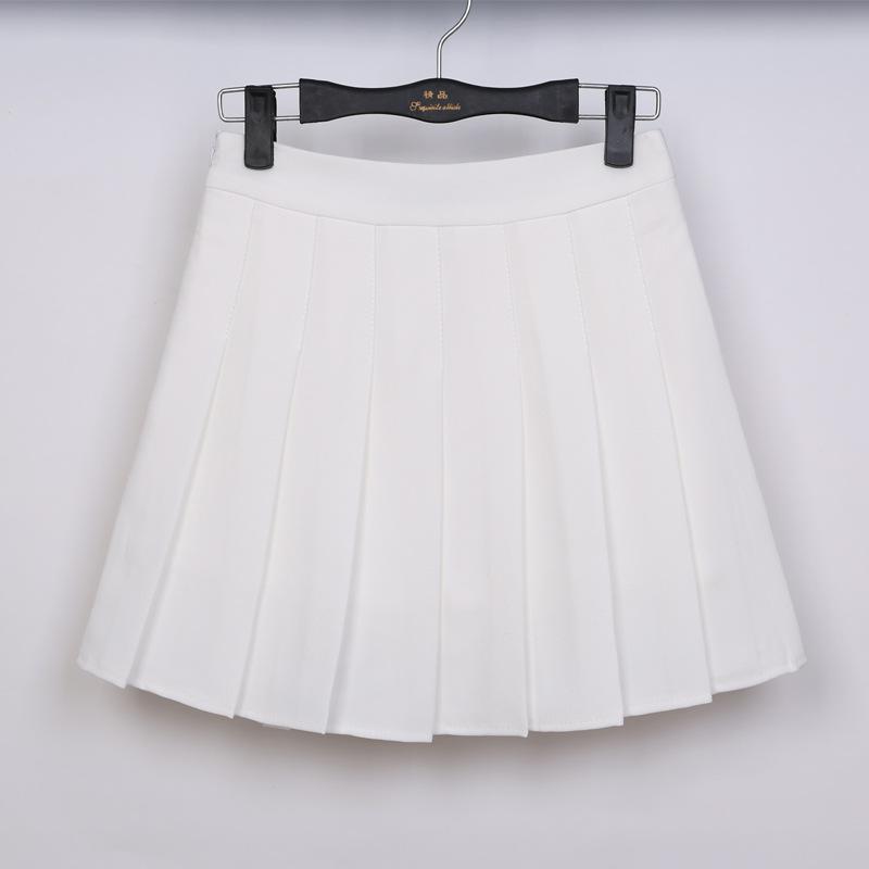 品名: 學院風A高腰修身顯瘦百褶裙網球裙半身短裙褲(白色) J-12894