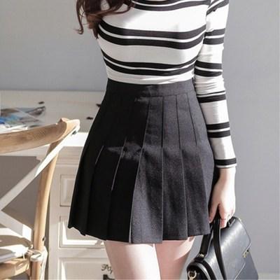 品名: 學院風A高腰修身顯瘦百褶裙網球裙半身短裙褲(黑色) J-12895