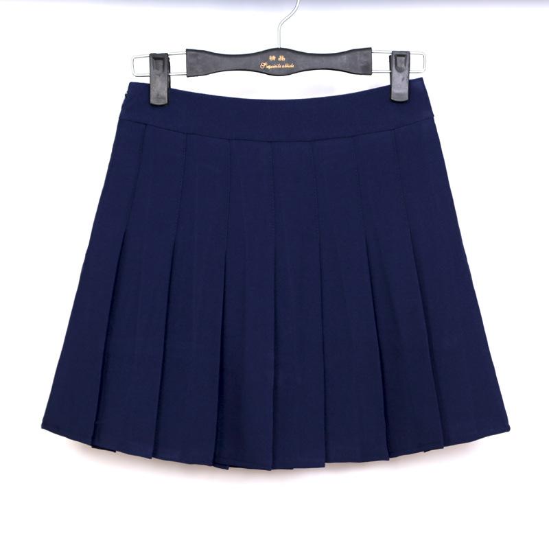 品名: 學院風A高腰修身顯瘦百褶裙網球裙半身短裙褲(藏青色) J-12897