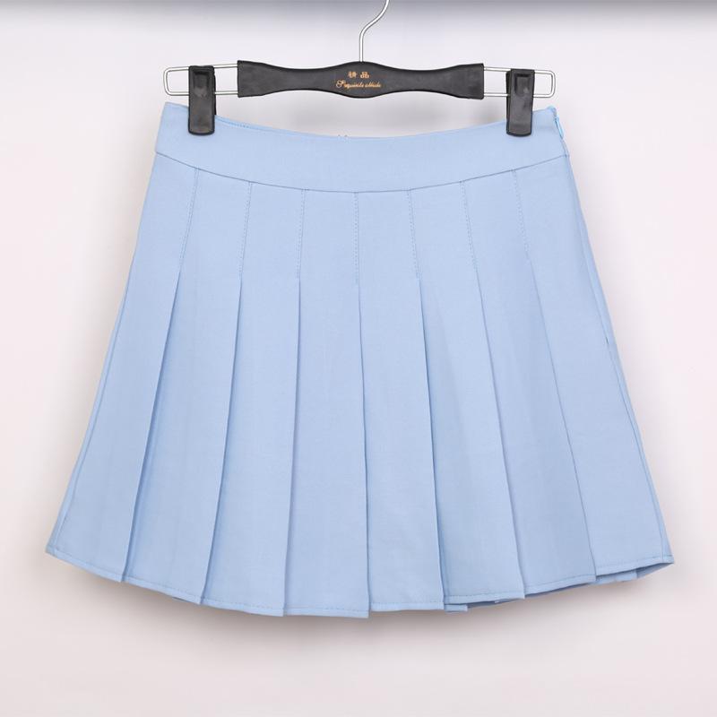 品名: 學院風A高腰修身顯瘦百褶裙網球裙半身短裙褲(天藍色) J-12898