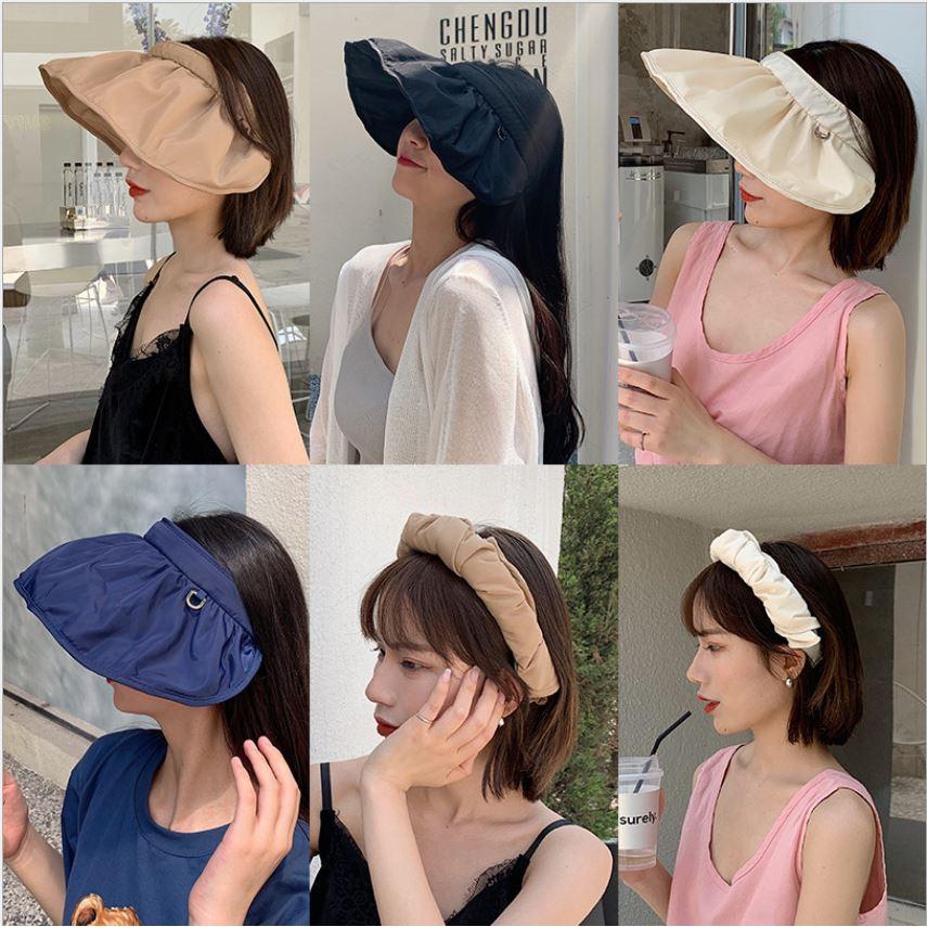 [指標愛購物] 韓國兩用遮陽防曬貝殼帽(可當髮箍)