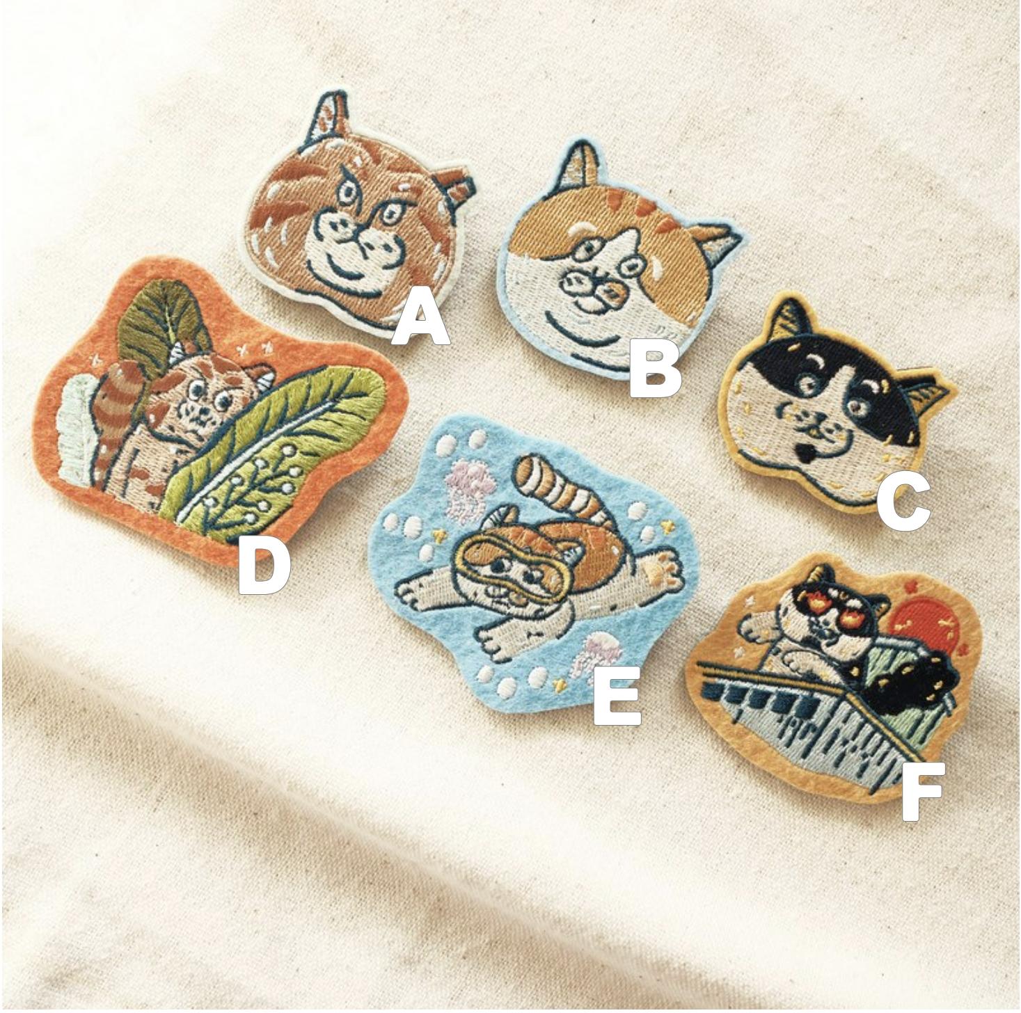 貓咪刺繡別針-貓頭A-C款