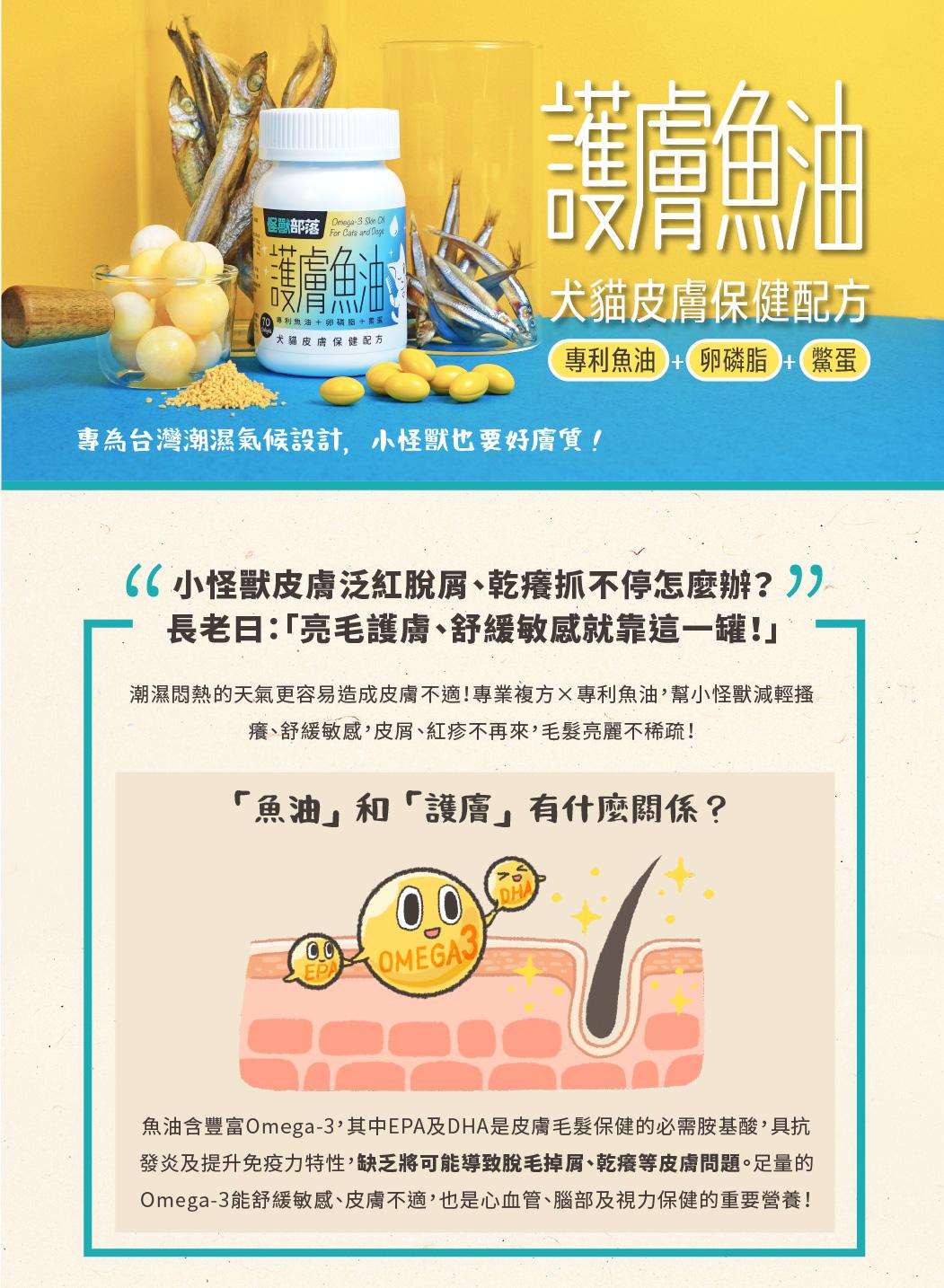 怪獸部落 犬貓適用 護膚魚油 犬貓皮膚保健配方 70顆 皮毛保健 魚油 卵磷脂 鱉蛋