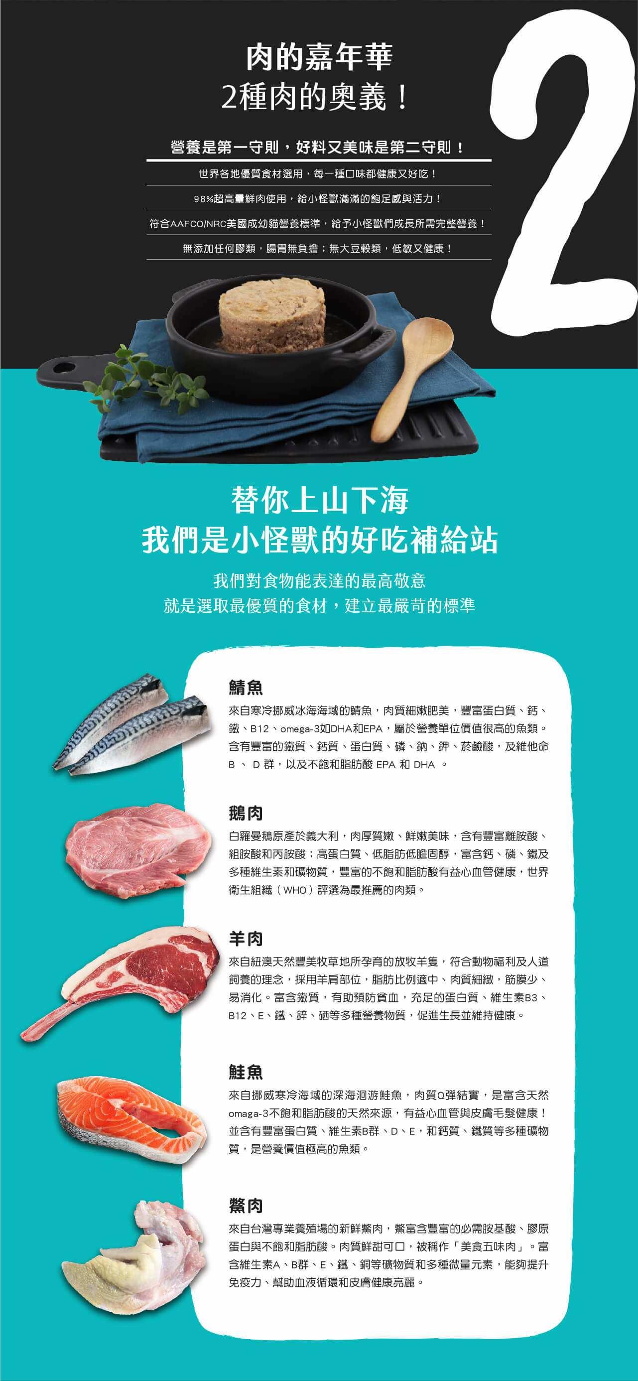 [喵皇帝] 怪獸部落 貓族 小怪獸2種肉無膠主食罐 82G 雞肉鵝肉鯖魚鱉肉羊肉 貓罐頭