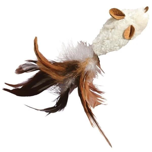 美國KONG Feather Mouse / 白老鼠玩具(NM42) 附貓薄荷 可重複填充