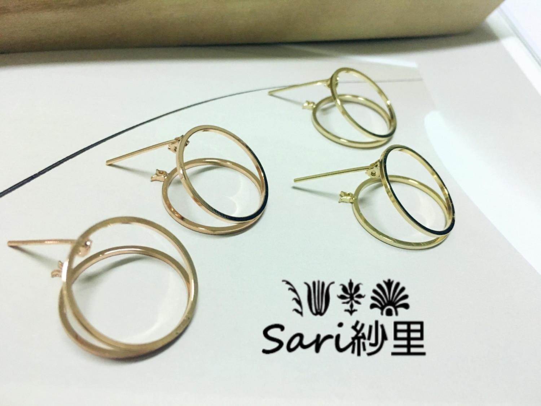 易扣現代雙圓設計//韓國耳環