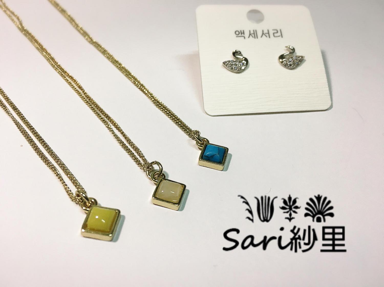 小方寶石項鍊//黃//杏//土耳其藍
