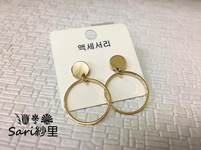 簡約圓形//正韓//金色耳環