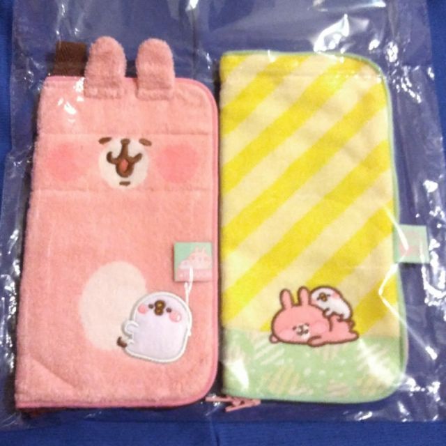 全新現貨 收納袋組合 粉+黃 日本 日版 卡娜赫拉 卡納赫拉 兔兔 p助 kanahei 毛巾袋 小袋 飲料袋 收納袋 筆袋 雨傘套