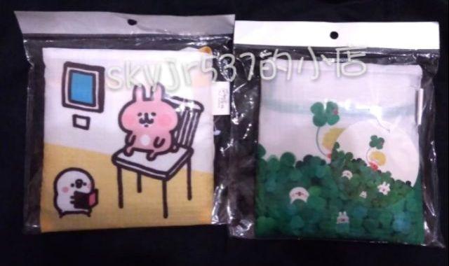全新現貨 環保袋共計2個 日本 卡娜赫拉 卡納赫拉 卡娜赫拉展 15週年 15周年 兔兔 p助 卡娜赫拉15週年展 收納袋 購物袋 提袋 袋