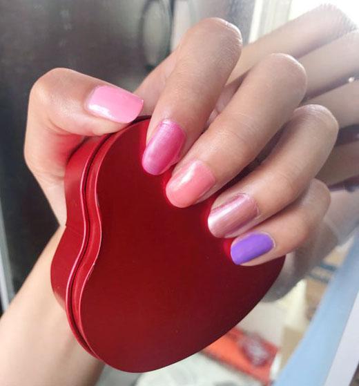 快乾指甲油 時尚紫 美甲 焦糖指甲油 人魚橘 細刷毛
